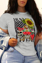 Grey Street Party Print Split Joint O Neck T-Shirts