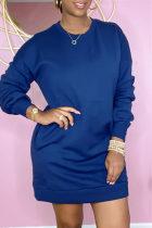 Deep Blue Fashion Casual Solid Basic O Neck Long Sleeve Dresses