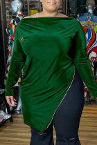 Green Fashion Casual Solid Slit Zipper Boat Neck Plus Size Tops