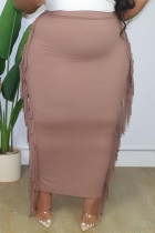 Champagne Fashion Casual Solid Tassel Plus Size Skirt