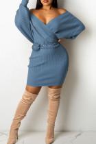 Sky Blue Sexy Solid Split Joint V Neck Pencil Skirt Dresses(Without Belt)