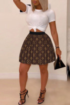 Brown Fashion Casual Printing Pleated Skirt