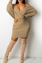 Apricot Sexy Solid Split Joint V Neck Pencil Skirt Dresses(Without Belt)