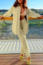 Khaki Casual Solid Split Joint Buckle Turndown Collar Long Sleeve Two Pieces