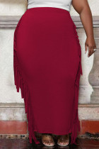 Burgundy Fashion Casual Solid Tassel Plus Size Skirt