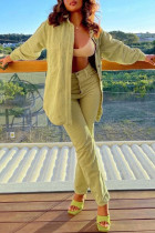 Yellow Casual Solid Split Joint Buckle Turndown Collar Long Sleeve Two Pieces