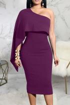 Purple Sexy Solid Split Joint Asymmetrical Oblique Collar A Line Dresses