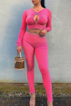 Pink Sexy Solid Hollowed Out Split Joint Fold O Neck Long Sleeve Two Pieces