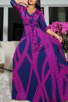 Blue Purple Fashion Casual Print Bandage V Neck Long Sleeve Dresses