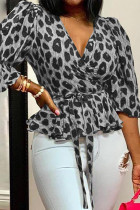 Grey Sexy Print Leopard Bandage Split Joint V Neck Tops