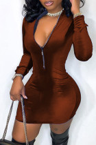 Coffee Fashion Casual Solid Split Joint Zipper Collar Long Sleeve Dresses