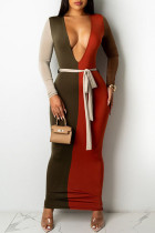 Multicolor Sexy Casual Patchwork With Belt V Neck Long Sleeve Dresses