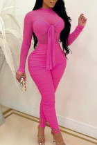 Rose Red Sexy Solid Bandage Split Joint See-through Fold O Neck Skinny Jumpsuits