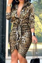 Leopard Print Sexy Print Split Joint Buckle Fold Asymmetrical Turndown Collar Shirt Dress Dresses