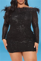 Black Fashion Sexy Patchwork Embroidered Sequins Off the Shoulder Long Sleeve Plus Size Dresses