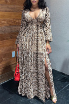 Camel Fashion Sexy Print Hollowed Out V Neck Long Sleeve Dresses