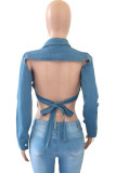 Light Blue Sexy Casual Solid Bandage Backless Turndown Collar Long Sleeve Regular Denim Jacket