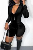 Black Casual Solid Split Joint Zipper Collar Skinny Jumpsuits
