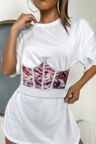 Red Fashion Print Asymmetrical Bustiers