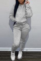 Grey Fashion Casual Solid Basic Hooded Collar Long Sleeve Two Pieces