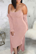 Pink Sexy Solid Split Joint Sleeveless Two Pieces