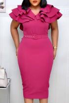 Rose Red Fashion Elegant Solid Split Joint V Neck Pencil Skirt Dresses