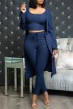 Burgundy Fashion Casual Solid Cardigan Vests Pants O Neck Long Sleeve Three-piece Set