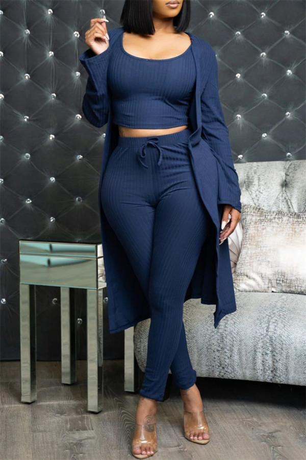 Dark Blue Fashion Casual Solid Cardigan Vests Pants O Neck Long Sleeve Three-piece Set