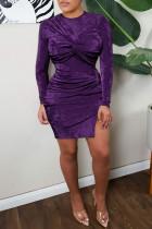 Dark Purple Celebrities Solid Split Joint Fold O Neck Long Sleeve Two Pieces