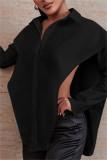 Black Fashion Casual Solid Split Joint Asymmetrical Turndown Collar Tops