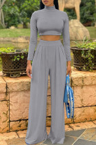 Grey Fashion Casual Solid Basic Turtleneck Long Sleeve Two Pieces
