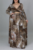 Brown Fashion Casual Print Bandage V Neck Plus Size Two Pieces