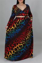 Black Fashion Casual Print Bandage V Neck Plus Size Two Pieces