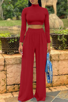 Burgundy Fashion Casual Solid Basic Turtleneck Long Sleeve Two Pieces