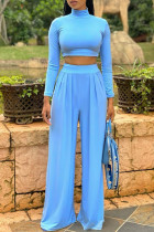 Sky Blue Fashion Casual Solid Basic Turtleneck Long Sleeve Two Pieces