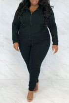 Black Casual Solid Hot Drill Hooded Collar Plus Size Two Pieces