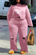 Pink Fashion Casual Letter Print Ripped O Neck Plus Size Two Pieces