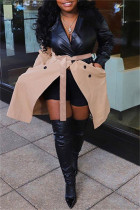 Khaki Fashion Casual Patchwork With Belt Turndown Collar Plus Size Overcoat