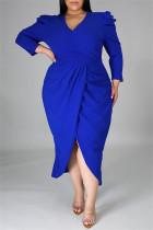 Blue Fashion Casual Solid Split Joint V Neck Long Sleeve Plus Size Dresses