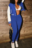 Blue Fashion Casual Patchwork Cardigan Pants Long Sleeve Two Pieces