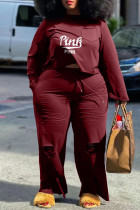 Burgundy Fashion Casual Letter Print Ripped O Neck Plus Size Two Pieces