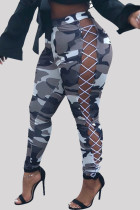 Grey Fashion Casual Camouflage Print Bandage Hollowed Out Regular High Waist Trousers