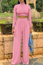 Pink Fashion Casual Solid Basic Turtleneck Long Sleeve Two Pieces