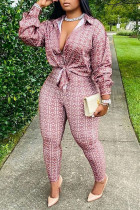 Brown Sexy Print Bandage Split Joint Turndown Collar Plus Size Two Pieces