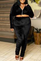 Black Casual Solid Split Joint Fold Zipper Zipper Collar Plus Size Two Pieces