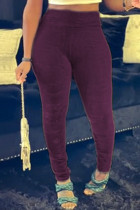 Burgundy Fashion Casual Solid Skinny High Waist Pencil Trousers