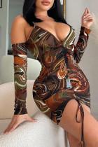 Multicolor Sexy Print Split Joint Fold Asymmetrical V Neck Sling Dress Dresses