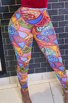 Colour Fashion Casual Print Basic Skinny High Waist Pencil Trousers