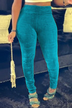 Blue Fashion Casual Solid Skinny High Waist Pencil Trousers