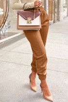 Brown Casual Solid Split Joint Fold Regular High Waist Pencil Solid Color Bottoms